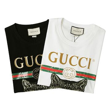 GUCCI Woman Men Fashion Print Tunic Shirt Top Blouse