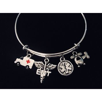 Ambulance Helicopter EMT Medical Jewerly Silver Expandable Charm Bangle Adjustable Bracelet Flight Paramedic Caduceus EMS One Size Fits All