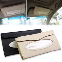 Auto Accessory Clip-PU Leather Car Sun Visor Tissue Box Paper Napkin Holder HU