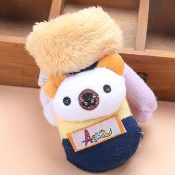 2017 New Fashion Baby Kids Thick Warm Gloves for Kid Infant Girls Boys Cartoon Bear Winter Gloves for Children Comfortable