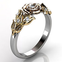 14k three tone yellow, rose and white gold diamond unusual unique floral wedding band LB-2016-6.