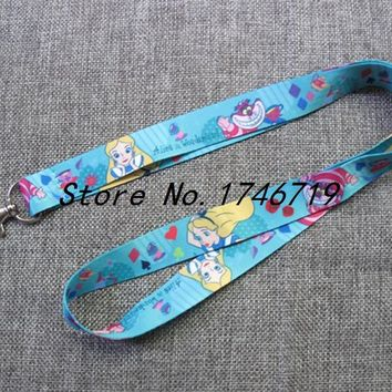 Retail 1 pcs  cartoon  Alice In Wonderland Princess  Straps Lanyard  ID Badge Holders Mobile Neck Keychains For Party Gift nl-55