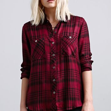 LA Hearts Basic Plaid Button-Down Shirt - Womens Shirts