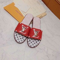 Louis Vuitton LV 2019 Women Fashion Red Flats Slipper Sandals Shoes