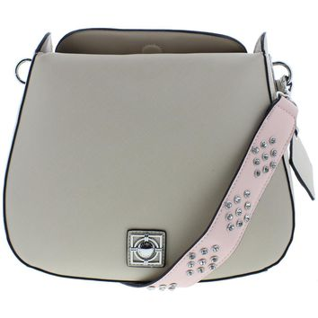 Catherine Malandrino Womens Mara Faux Leather Embellished Saddle Handbag