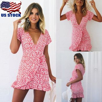 Women's V Neck Floral Ruffles Mini Dress Summer Frill Wrap Skater Swing Dress US
