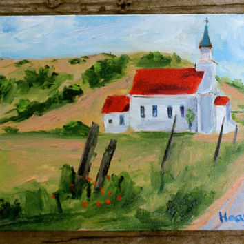 Oil Painting - Original - Honeyscolors - Landscape - Nicasio - Church - Point Reyes Seashore - Home Decor - 6 x 8