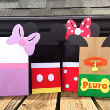 Mickey Mouse Party Favor Bags - 6 Mickey Mouse Clubhouse Bags - Disney Party Favor Bags - Mickey Mouse Loot Bags - Disney Character Bags