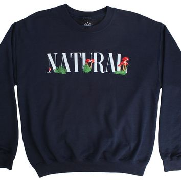 Natural Mushrooms embroidered navy fleece Crew Neck sweatshirt
