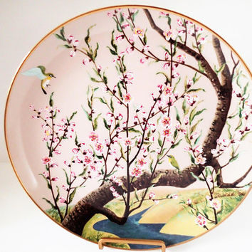 Franklin Mint Flowers and Birds of the Orient. White Eye and Peach Hand Painted Decorator Plate 1979