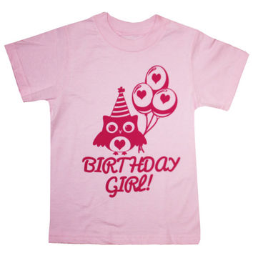 Cute Owl Birthday Girl T-Shirt