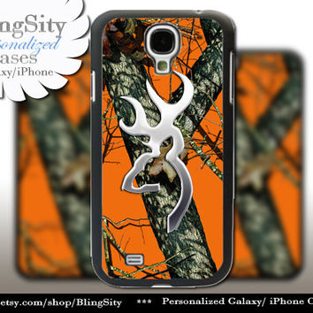 Browning Cutter Orange Camo Galaxy S3 S4 S5 Note 2 3 Case Cover Skin Hard Shell Back Not actual Chrome