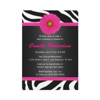 Black and Pink, Zebra, Girl Baby Shower Invitation from Zazzle.com