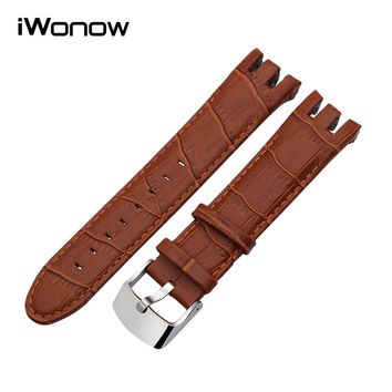 21mm Calf Genuine Leather Watchband + Tool for Swatch Men Women Watch Band Replacement Strap Wrist Belt Bracelet Black Brown