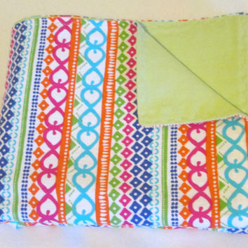 Bright Tribal Stripe Extra Large Reversible Flannel Receiving or Swaddling Blanket, Double Sided Crib Blanket or Quilt