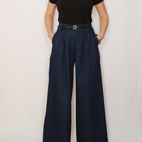 Navy Pants Denim pants High waist Wide leg pants with pockets