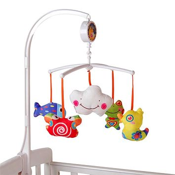 Cartoon Plush Toy Baby Crib Mobile Musical Bell Box Wind-up Music Cute Bed Toy Gift Baby Kids Love