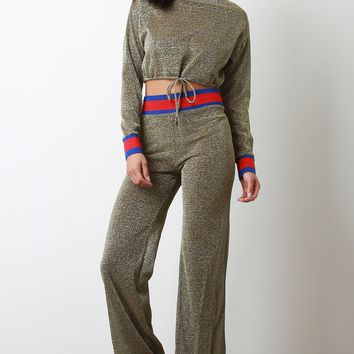 Foiled Metallic Colorblock Crop Top With Flared Pants Set