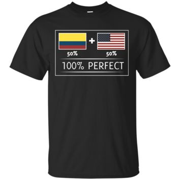 50% COLOMBIA 50% USA Flags 100% Perfect Tee for Colombians T-shirt