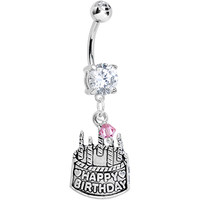 Handcrafted Clear CZ Custom Birthstone Birthday Cake Dangle Belly Ring | Body Candy Body Jewelry