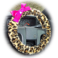 Fuzzy faux fur Leopard print car steering wheel cover with Barbie Pink satin bow