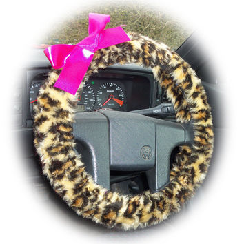 Brown Leopard steering wheel cover animal cheetah print faux furry fur fluffy car truck fuzzy with Choice of satin Bow Colour Color cute