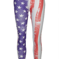 Distressed American Flag Legging