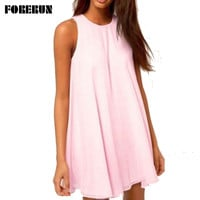 Women Summer Dresses O Neck Sleeveless Caal Elegant Tunique Pink Sky Blue S-XL