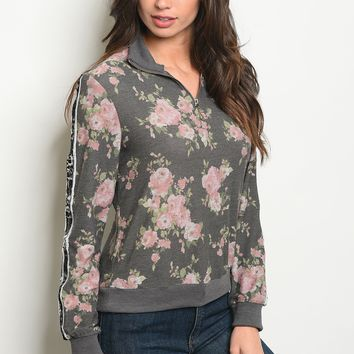 Long sleeve side sequins detail floral pull over top