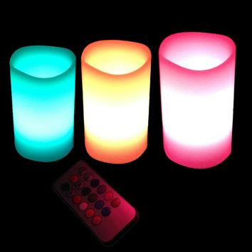 3pcs Home Decoration Led Flameless Candle Lamp Color Changing Candle Light With Remote Controller