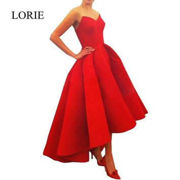Red High Low Satin Long Prom Dresses 2017 Robes De Soiree Sweetheart Evening Dress Short Front Long Back For Women Wedding Party