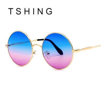 TSHING Fashion Gradient Oversized Round Sunglasses Women Vintage Metal Circle Wrap Sun Glasses For Male Female Eyeglasses UV400