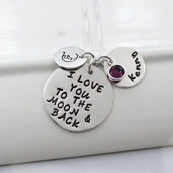 I Love You to the Moon and Back Personalized Mother's Necklace
