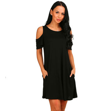 Black Cutout Shoulder Pocket Swing Dress
