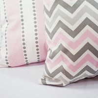 Two Decorative Throw Pillow Covers Baby Pink Grey and White - 18 x 18 inches Throw Pillow Couch Pillow Cushion Cover Accent Pillow