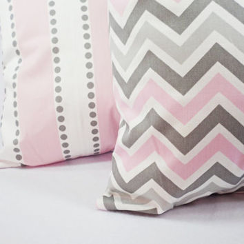 Nursery Decor Two Pillow Covers Baby Pink Grey And White 16