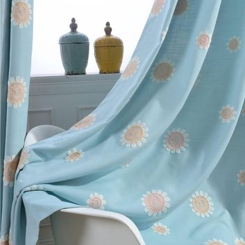 1 PCS Blue Window Curtain Fabrics Sunflower Embroidered Cotton Polyester Blackout Sewing Curtains Cloth for Home Living Room
