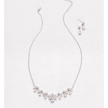 Cubic Zirconia Cluster Necklace and Earrings Set - Davids Bridal