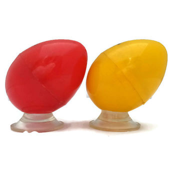 Vintage Salt and Pepper Shakers Eggs Plastic Retro Kitchen Collectible Red and Yellow Vermont