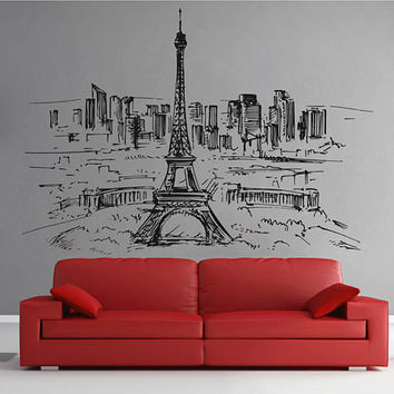 Paris Skyline Wall Decals Paris Wall Decals Eiffel Tower wall decals Cityscape Paris Wall Decals France Wall Decals kik2400