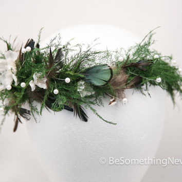 woodland forest queen wedding wreath, in green with flowers feathers and pearls