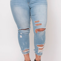 Plus Size Shredded Detail Skinny Jean - Light Wash
