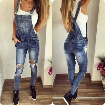 Russian Colombian StyleWomen Sexy Hole Jeans Jumpsuits