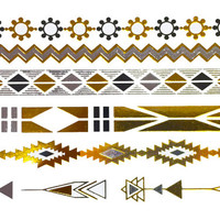 Tribal Chains Metallic Tattoo Gold Silver Festival Beach Holiday Gift Present Flash Tattoo Birthday Gift