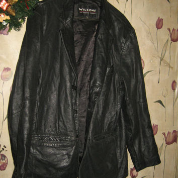 vintage Wilsons mens black leather jacket size med