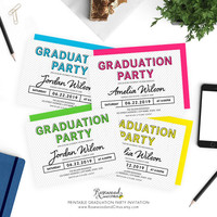Modern Graduation Party Invitation, Printable Graduation Invitation, Colorful Grad Party Printable, Modern Class of 2017 Graduation Invite
