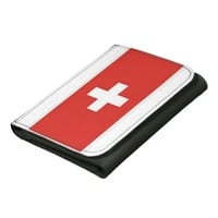 Black Small Leather Wallet Swiss Flag