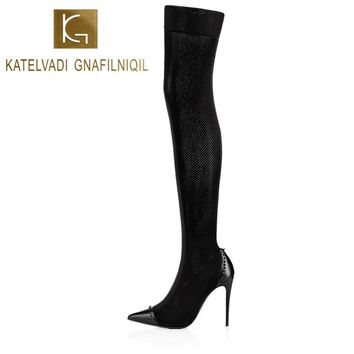 Women Rivets Boots Shoes Winter Thigh High Boots Sexy Stretch Over The Knee High Boots Black Slim 10CM High Heels Boots K-078