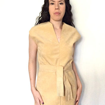 Vintage 1970s Lilli Ann Dress - ultra suede - beige shift dress - sheath - 70s boho - S M