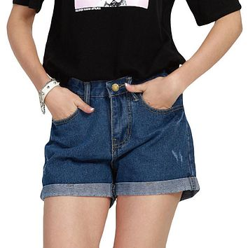 Sexy Mini Jeans Shorts Curled Fringe Dual Pocketed loose casual Denim shorts female Size S-5XL  summer Plus size women